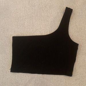 One Shoulder Black Crop Top